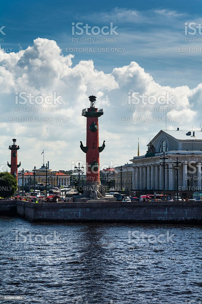 View of historical Vasilievsky island with red Rostral column stock photo
