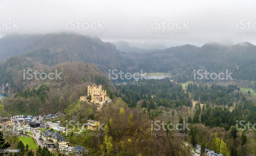 View of Hohenschwangau Castle in Bavarian Alps, Germany stock photo