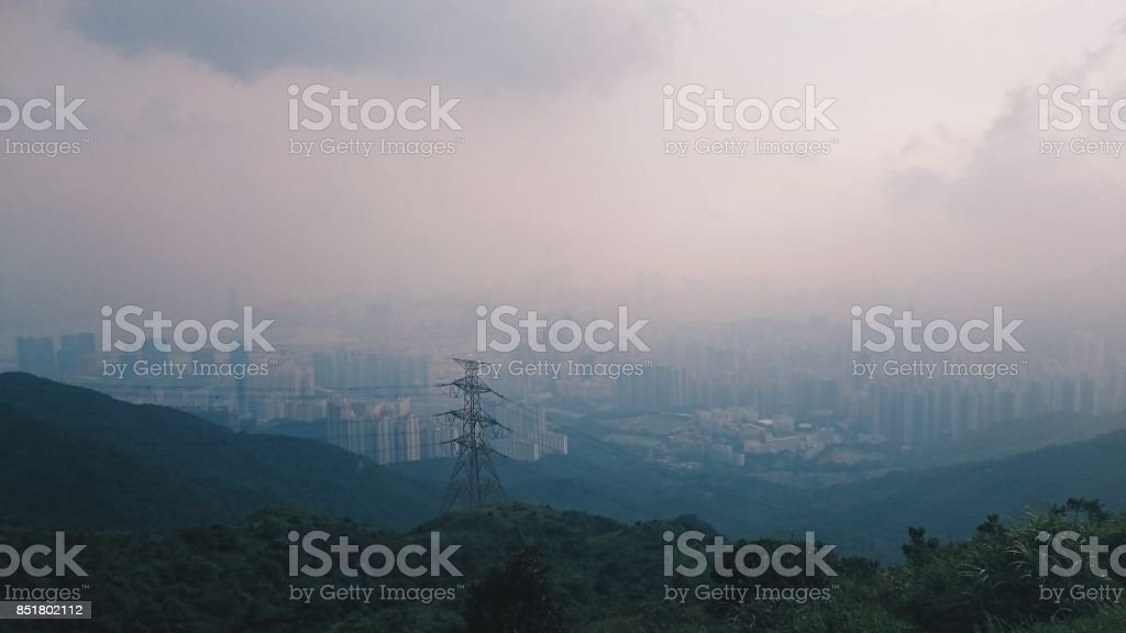 View of Hong Kong from a mountain stock photo