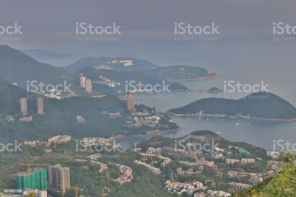 view of  hong kong south district stock photo