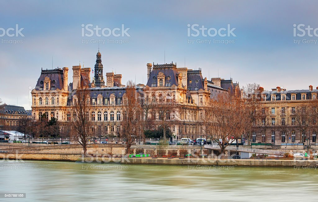 View of Hotel de Ville (City Hall) in Paris , France stock photo
