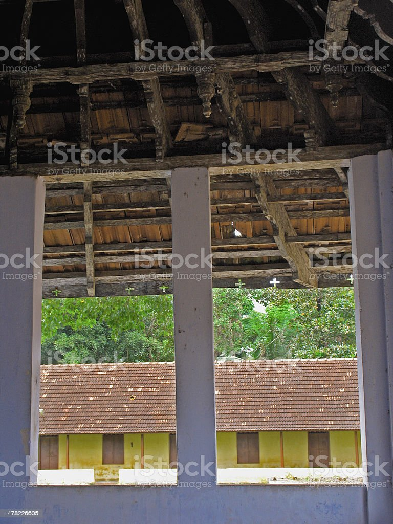 View of house from a window. Kerala, India royalty-free stock photo