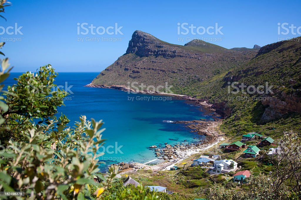 View of houses by the Cape Point Coastline  stock photo
