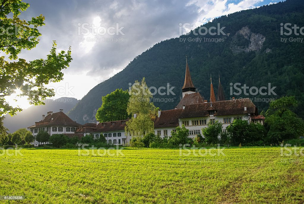 View of houses of old town and Brienz Church stock photo