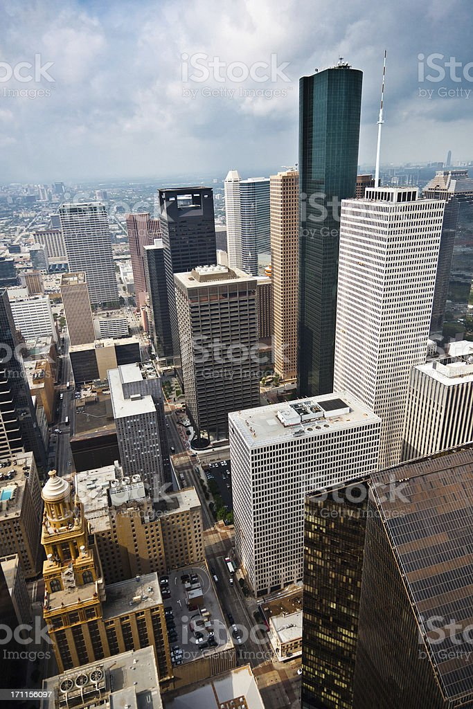 View of Houston Downtown Financial District Skyscrapers stock photo