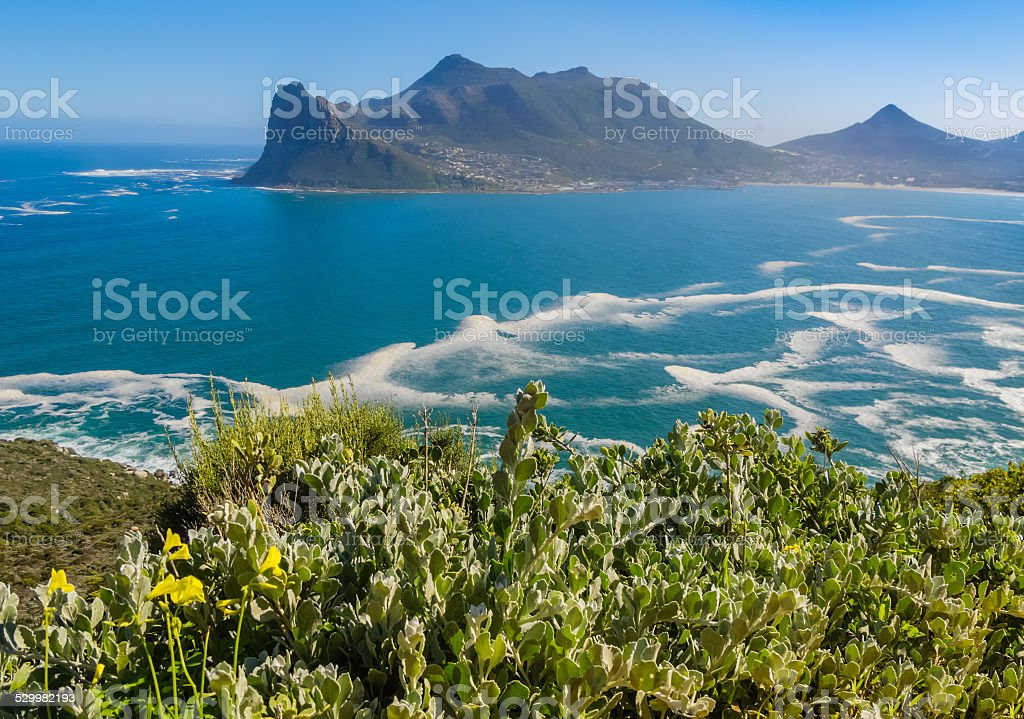 View of Hout Bay from Chapman's Peak drive, South Africa stock photo