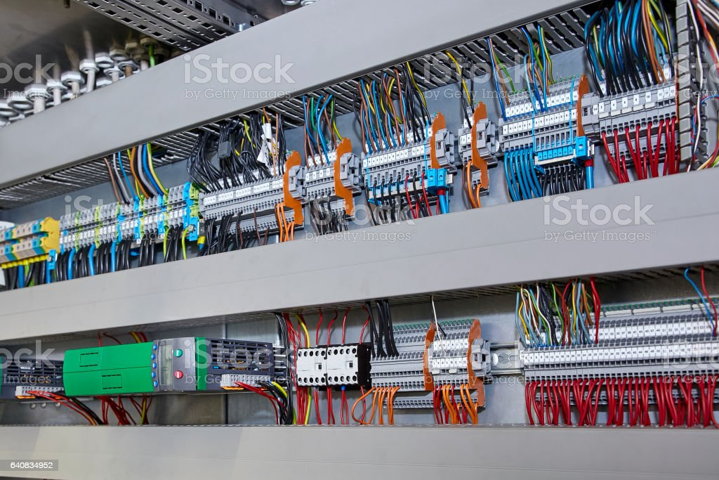 View of huge electricity switch box stock photo