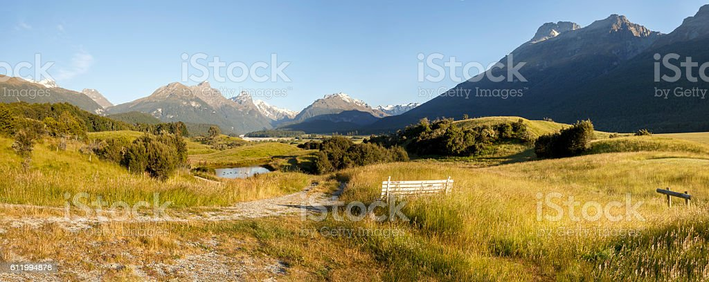 View of Humboldt Range and Forbes Mountains from Paradise, NZ stock photo