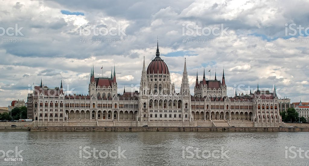 View of  Hungarian parliament  in Budapest, Hungary stock photo