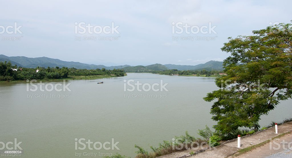 View of Huong river in Hue, Vietnam stock photo