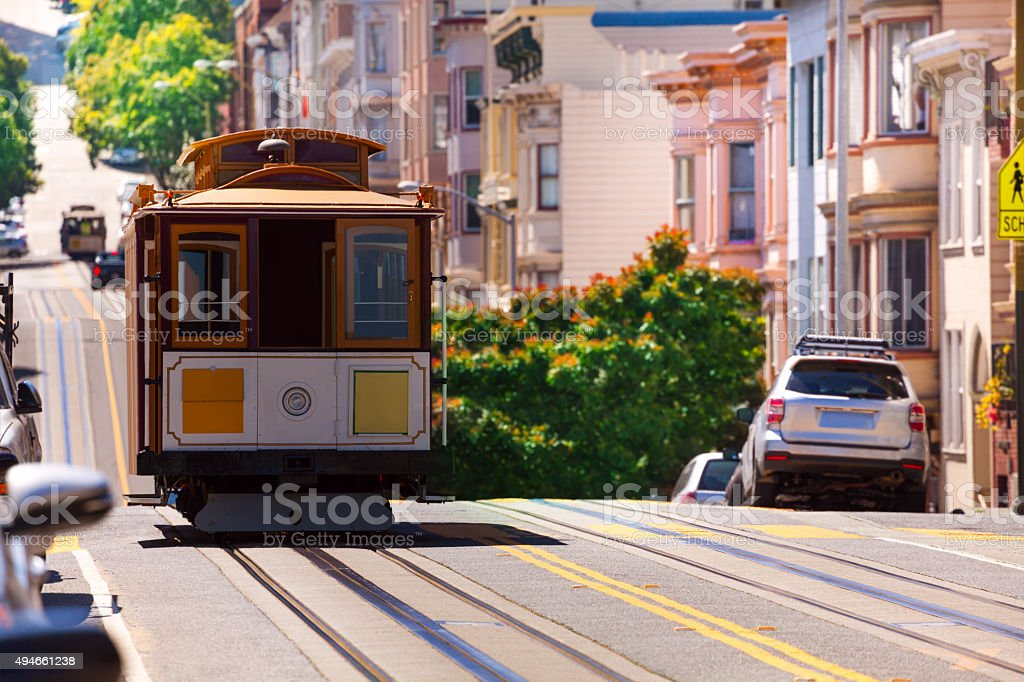 View of Hyde street and San Francisco tram stock photo