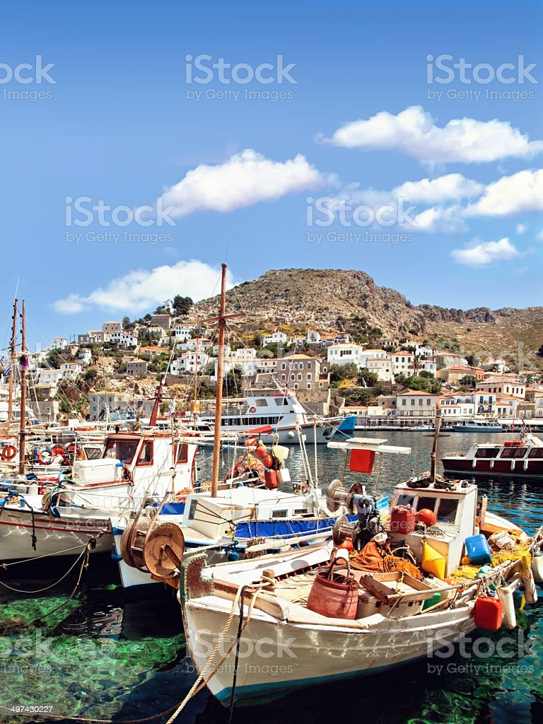 View of Hydra island port stock photo