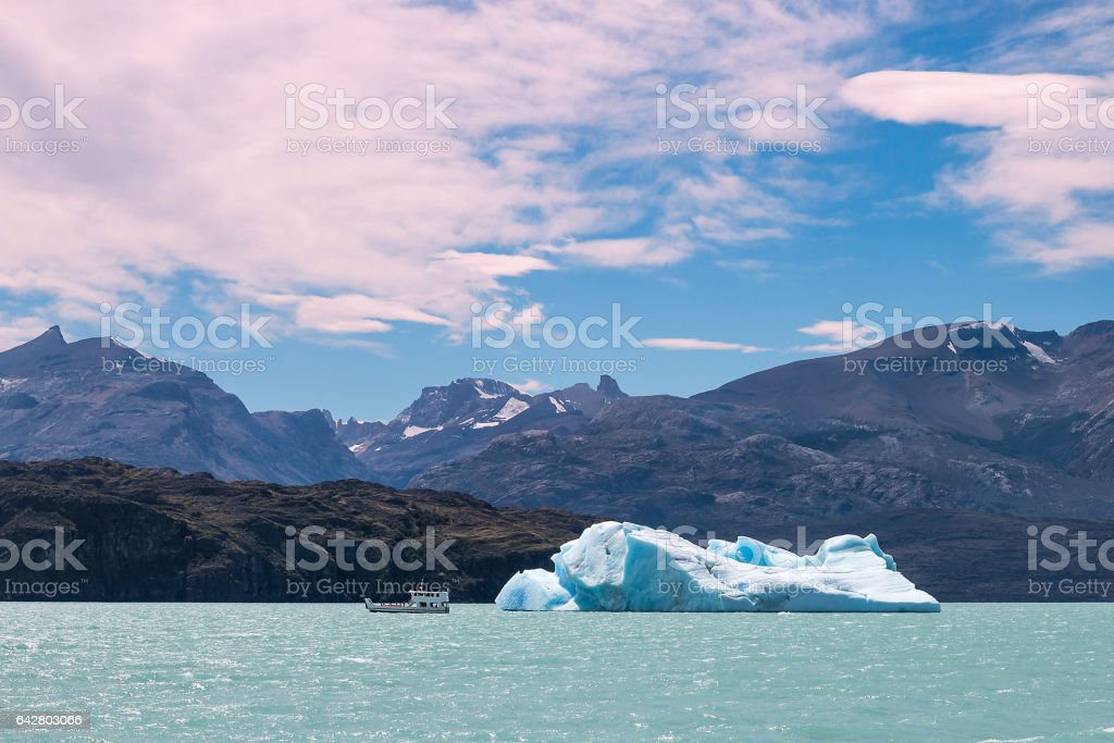 View of icebergs, mountains and glaciers, Patagonia stock photo