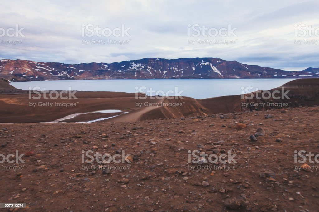 View of icelandic giant volcano Askja with two crater lakes, Iceland stock photo