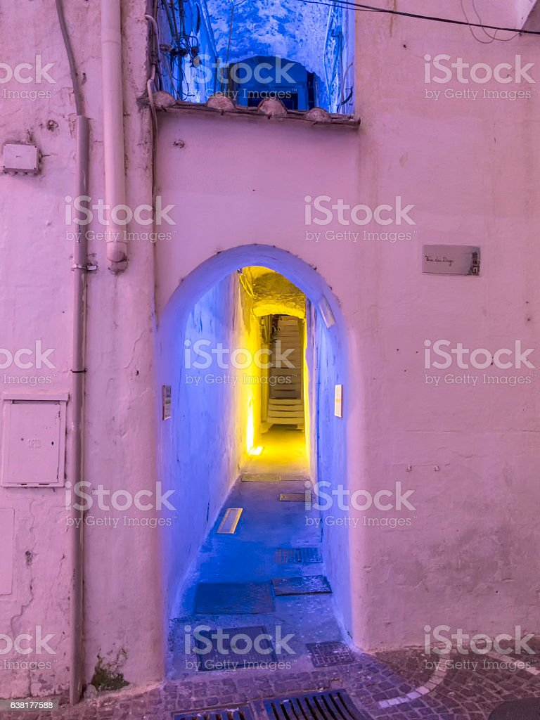 view of illuminated old path in Ravello stock photo