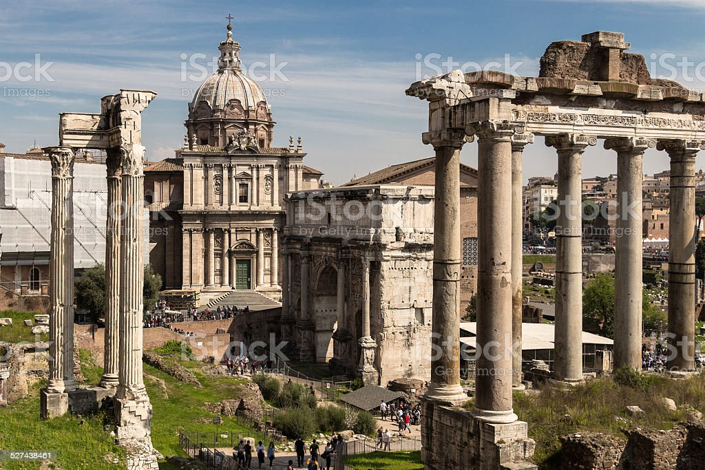 View of Imperial Fora stock photo