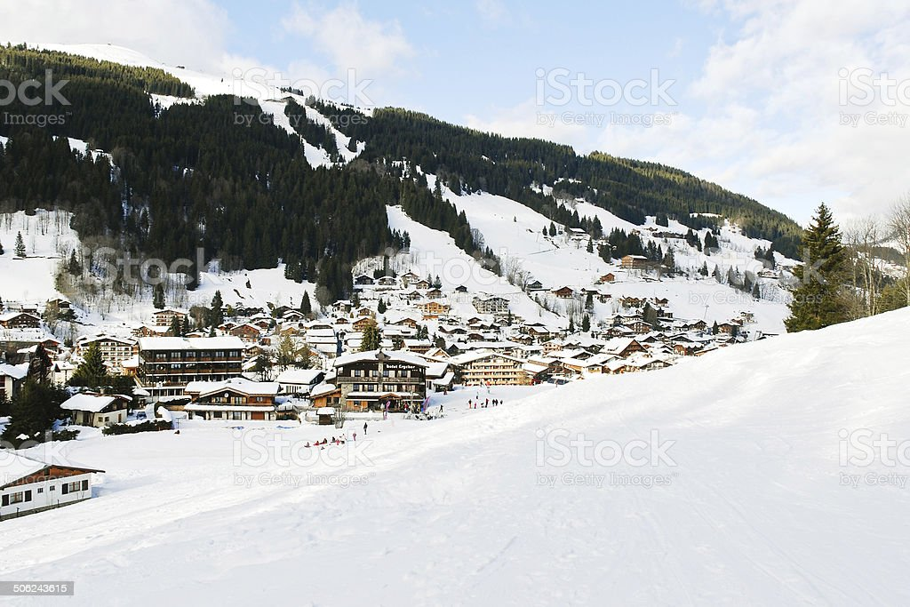 view of in mountain skiing resort town Les Gets stock photo