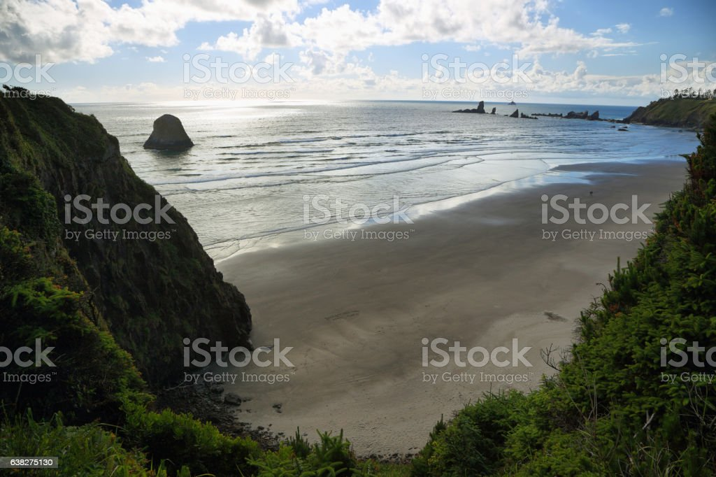 View of Indian beach in Ecola state park stock photo