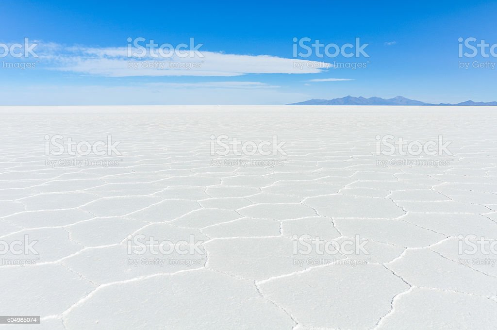 View of infinity in Salar de Uyuni, Bolivia stock photo