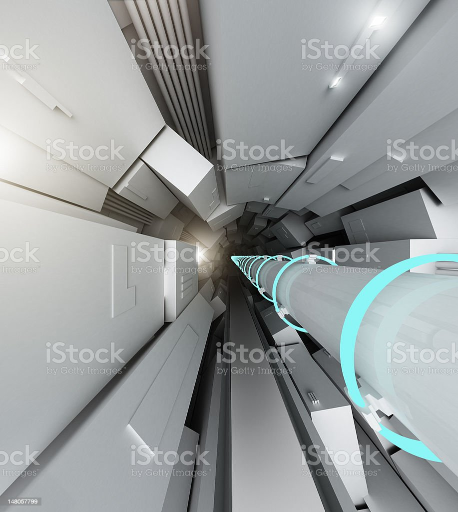 View of inside the Hadron particle collider machine stock photo