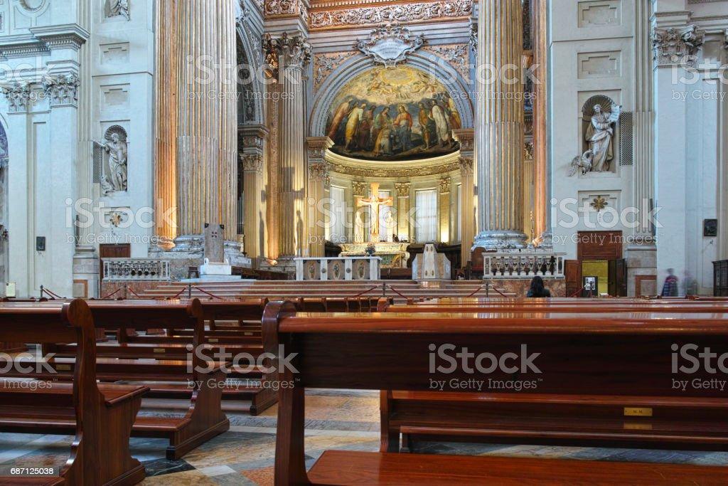 BOLOGNA, ITALY, FEBRUARY 20, 2017: view of interior of the Basilica di San Petronio in the italian city bologna stock photo