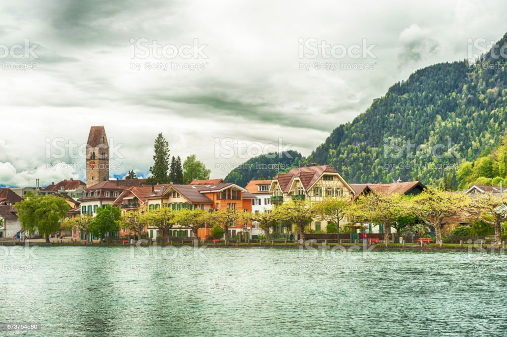 A view of Interlaken, Switzerland stock photo