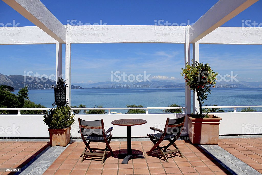 View of Ionian Sea and the Mediterranean in Corfu, Greece royalty-free stock photo