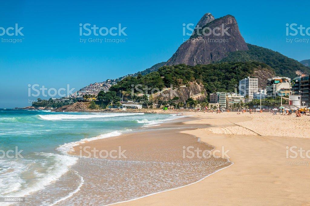 View of Ipanema Beach in Rio de Janeiro Brazil stock photo
