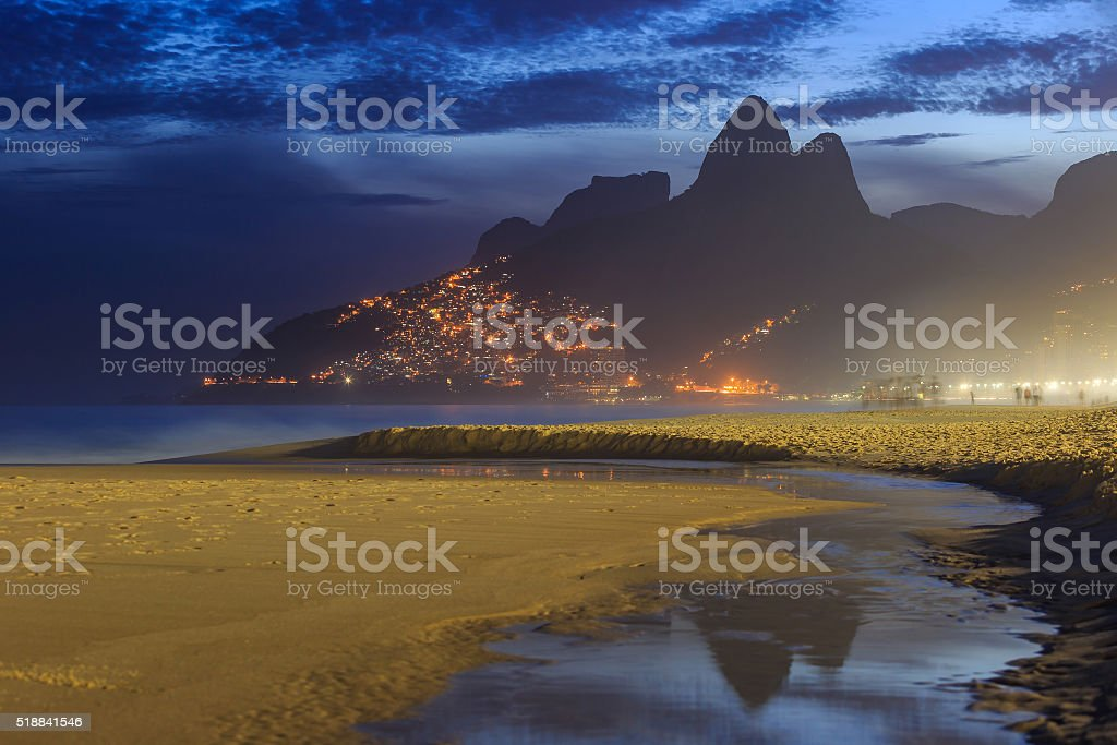 View of Ipanema Beach in the evening, Brazil stock photo