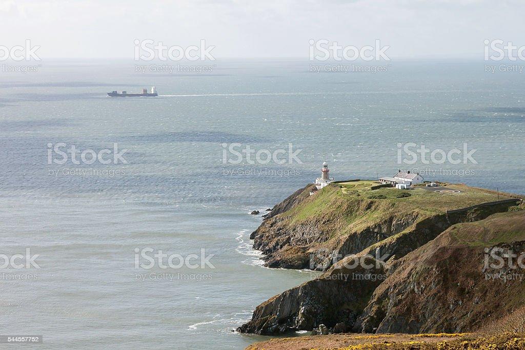 View of Irish Sea from Howth Summit, Baily Lighthouse, Ireland stock photo