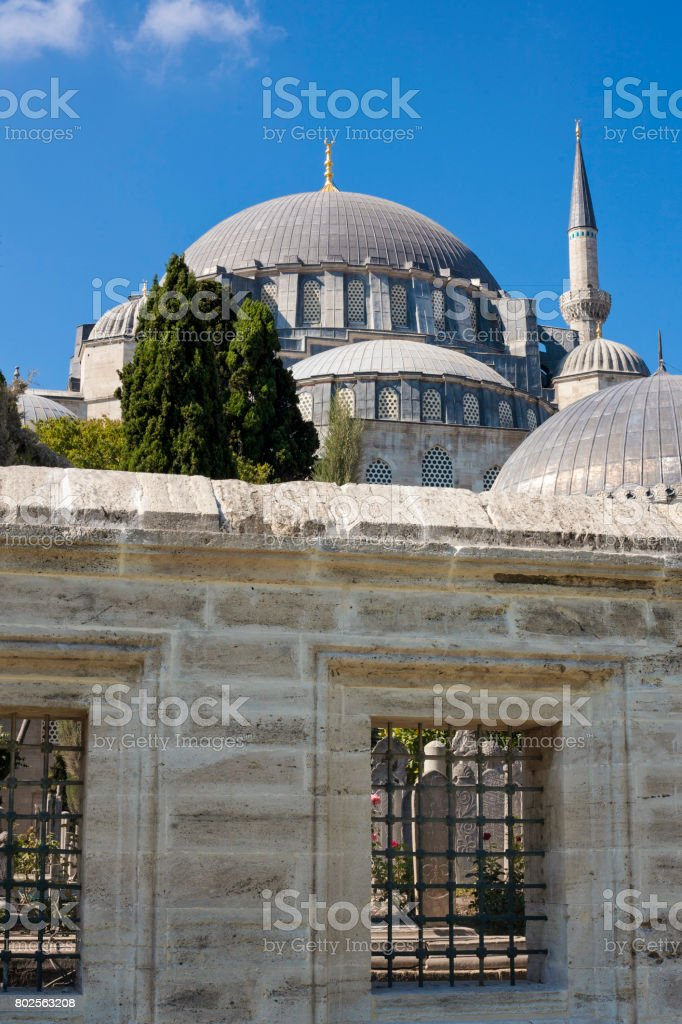 View of Islamic Mosque and graveyard in Istanbul, Turkey stock photo