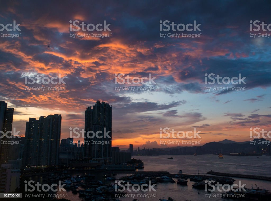 View of Island East and Victoria Harbour, Hong Kong stock photo