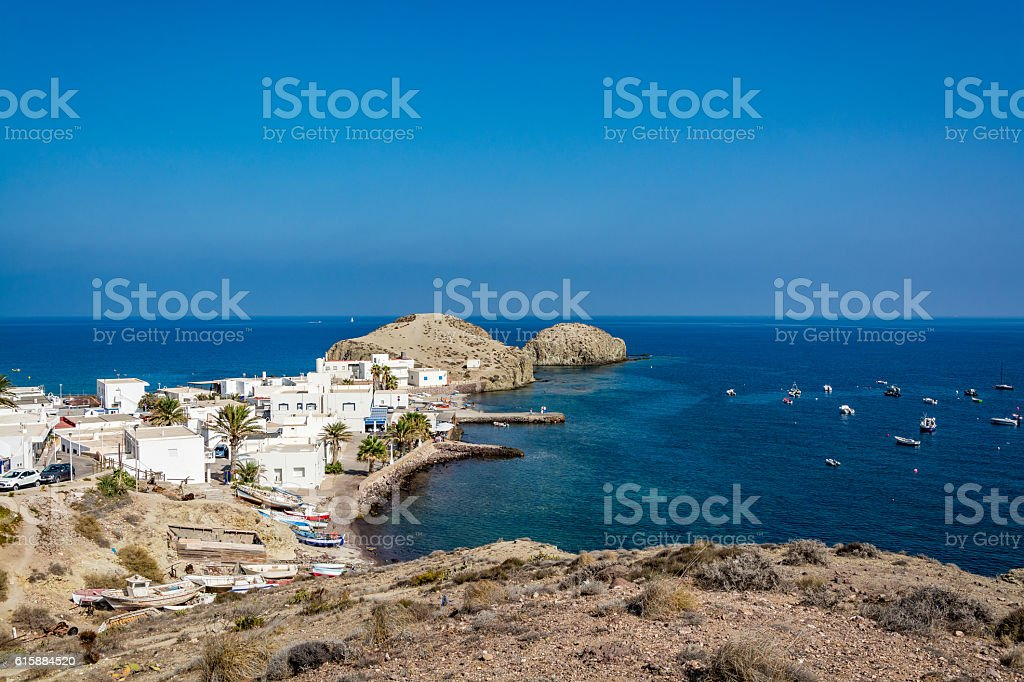 View of Isleta del Moro, Cabo da Gata national park stock photo
