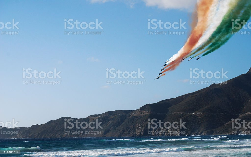View of Italian military airplane called frecce tricolore stock photo