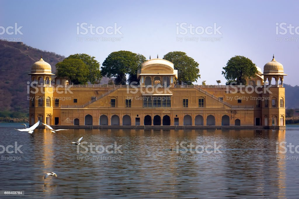 View of Jal Mahal from the Man Sagar Lake. Jal Mahal is the major tourist attraction in Jaipur stock photo