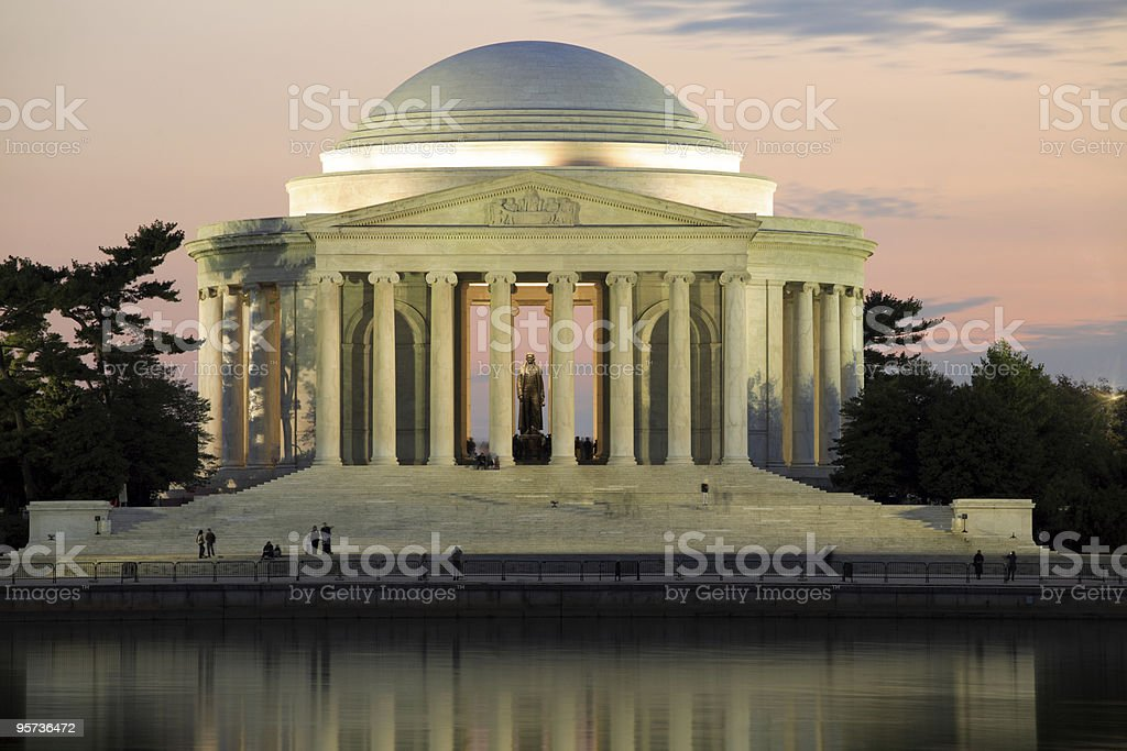 A view of Jefferson Memorial, Washington DC during sunset stock photo