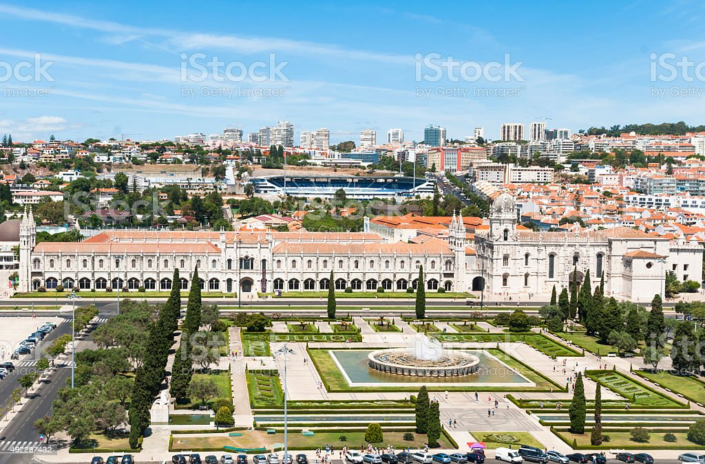 View of Jeronimos Monastery in Lisbon stock photo