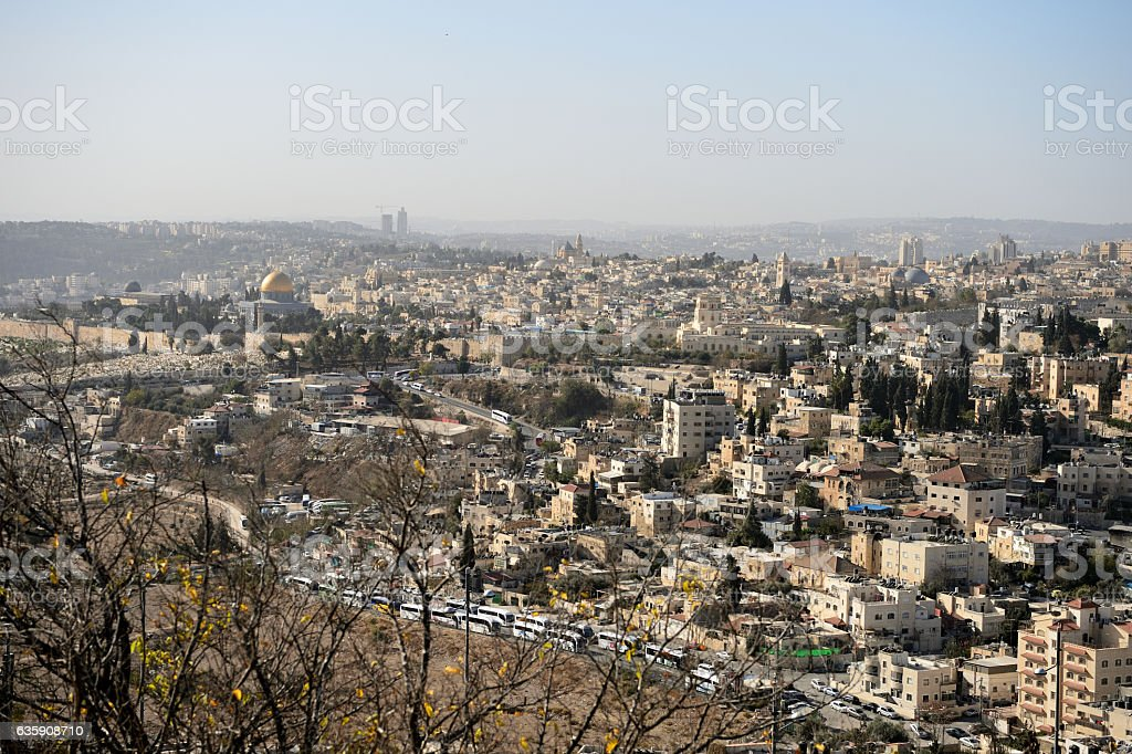 View of Jerusalem in the early morning, Israel stock photo