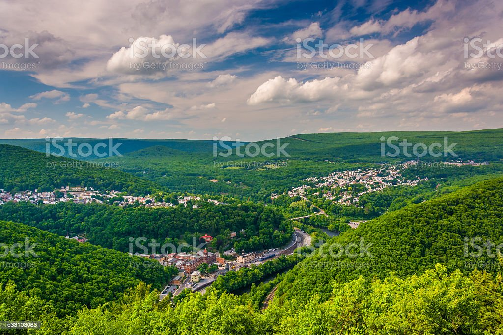 View of Jim Thorpe from Flagstaff Mountain, Pennsylvania. stock photo