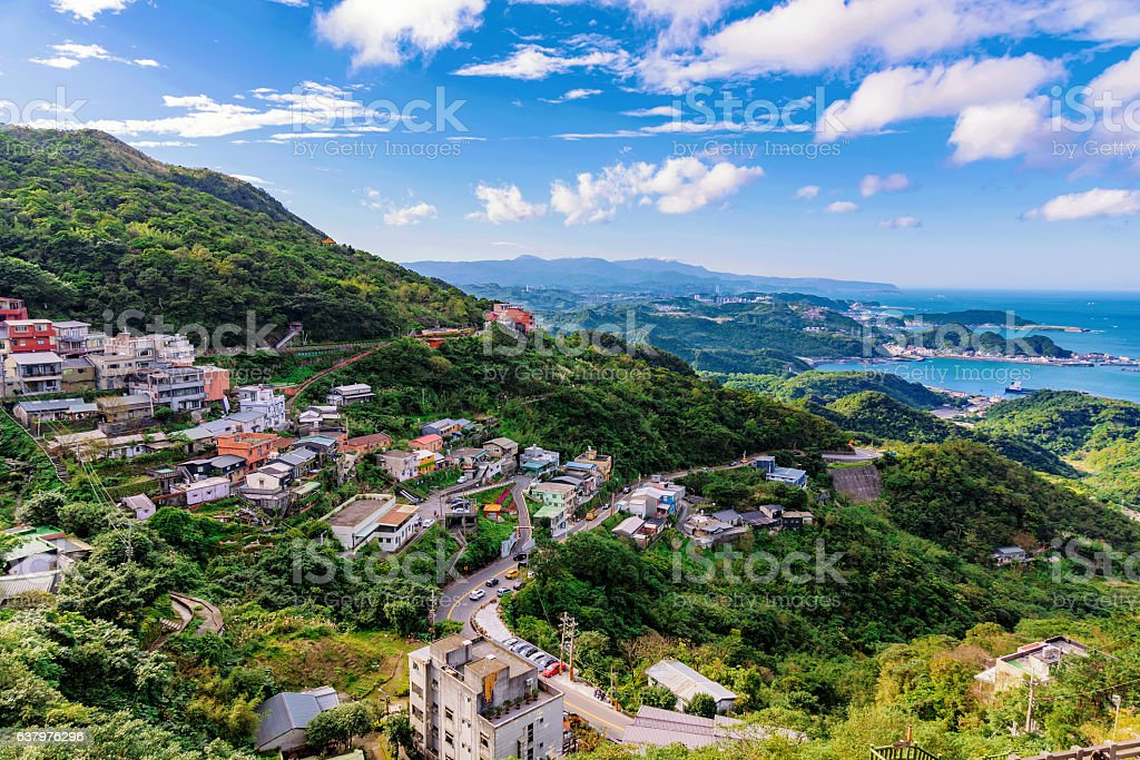 View of Jiufen village houses stock photo