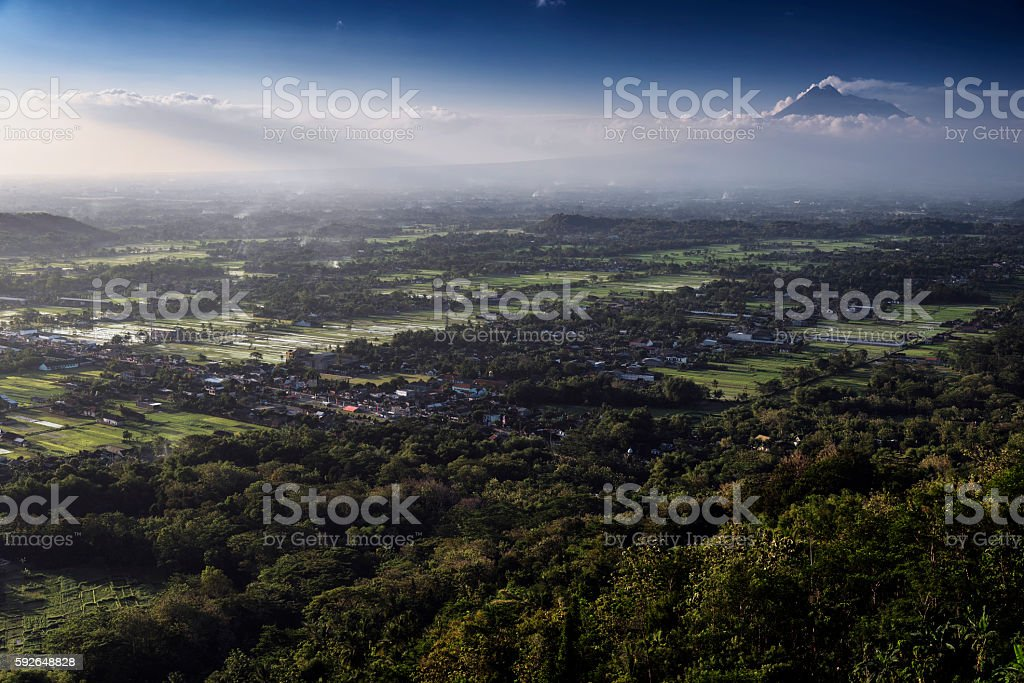 View of Jogjakarta with Merapi volcano, Jawa, Indonesia stock photo