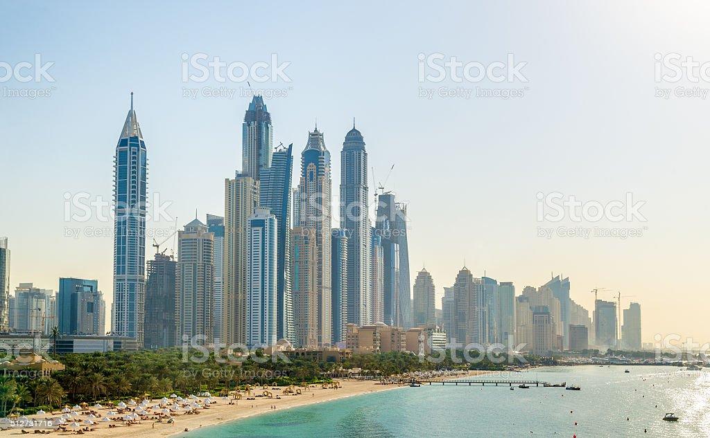 View of Jumeirah district in Dubai, UAE stock photo