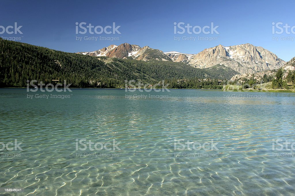 View of June Lake from the north beach stock photo