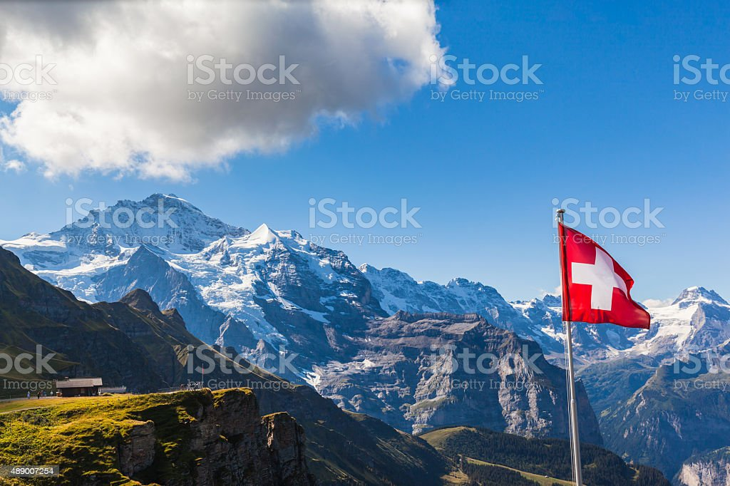View of Jungfrau from Mannlichen stock photo