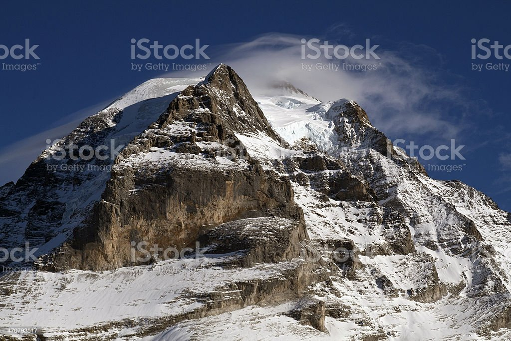 View of Jungfrau mountain, Switzerland, blue sky and cloud. royalty-free stock photo