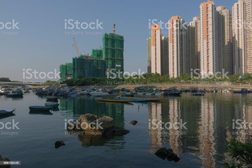 View of Junk Bay in Tseung Kwan O, Hong Kong stock photo