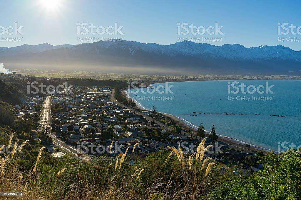 View of Kaikoura and mountain range stock photo
