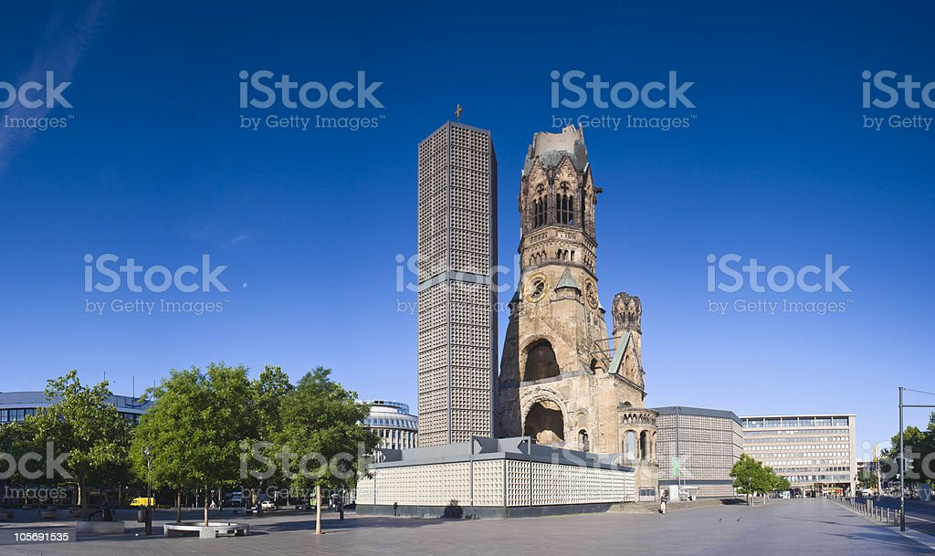 View of Kaiser-Wilhelmina-Gedachtnis-Kirche with blue skies stock photo
