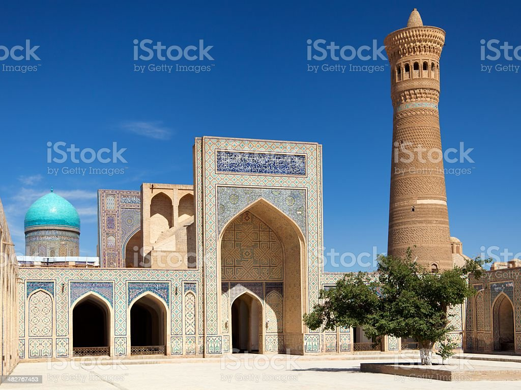 View of Kalon mosque and minaret - Bukhara - Uzbekistan stock photo