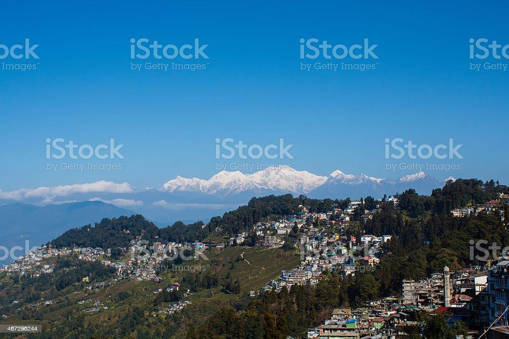 view of Kanchenjunga mountain and tea gardens of Darjeeling India stock photo